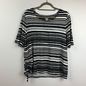 Chico's size 2 large black and white striped top